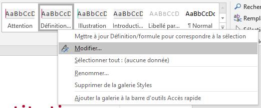 Le bandeau des styles de mise en page sur Microsoft Word 2016