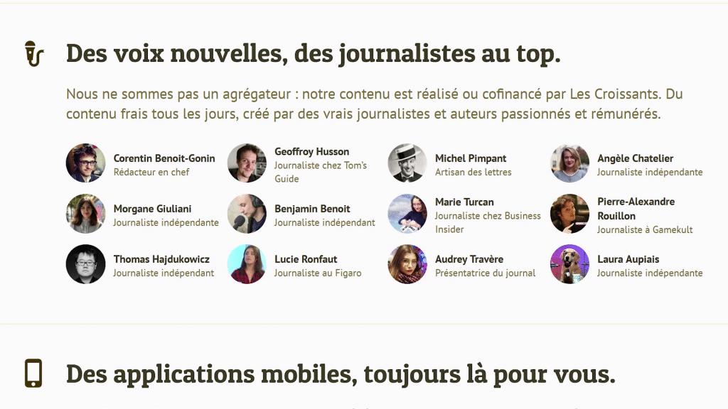 """Capture d'écran du site Internet des Croissants : """"des voix nouvelles, des journalistes au top"""""""