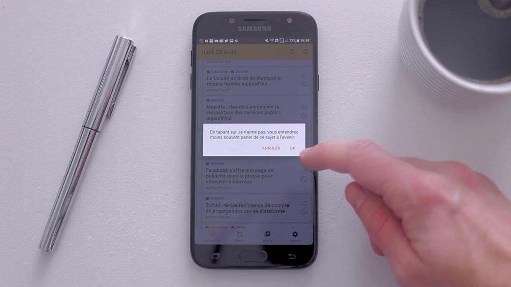 L'utilisateur peut affiner ses goûts sur l'application.