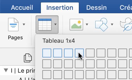 """L'utilisateur s'apprête à créer un tableau d'une seule ligne et de quatre colonnes. Pour ce faire, il faut se rentre dans la section """"Tableau"""" de Word, qui se trouve dans l'onglet """"Insertion""""."""
