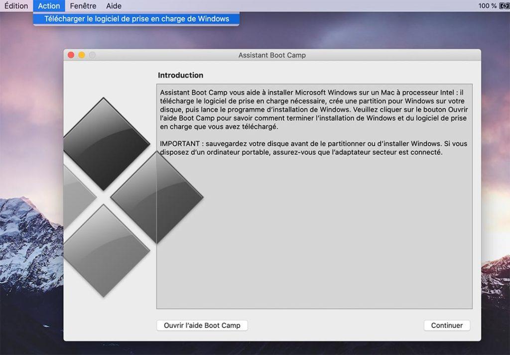 L'assistant Boot Camp permet de télécharger le logiciel de prise en charge de Windows, c'est-à-dire les pilotes d'Apple.