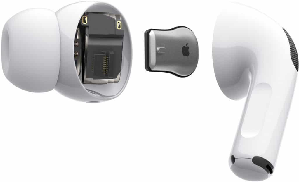 Vue éclatée des AirPods Pro d'Apple.