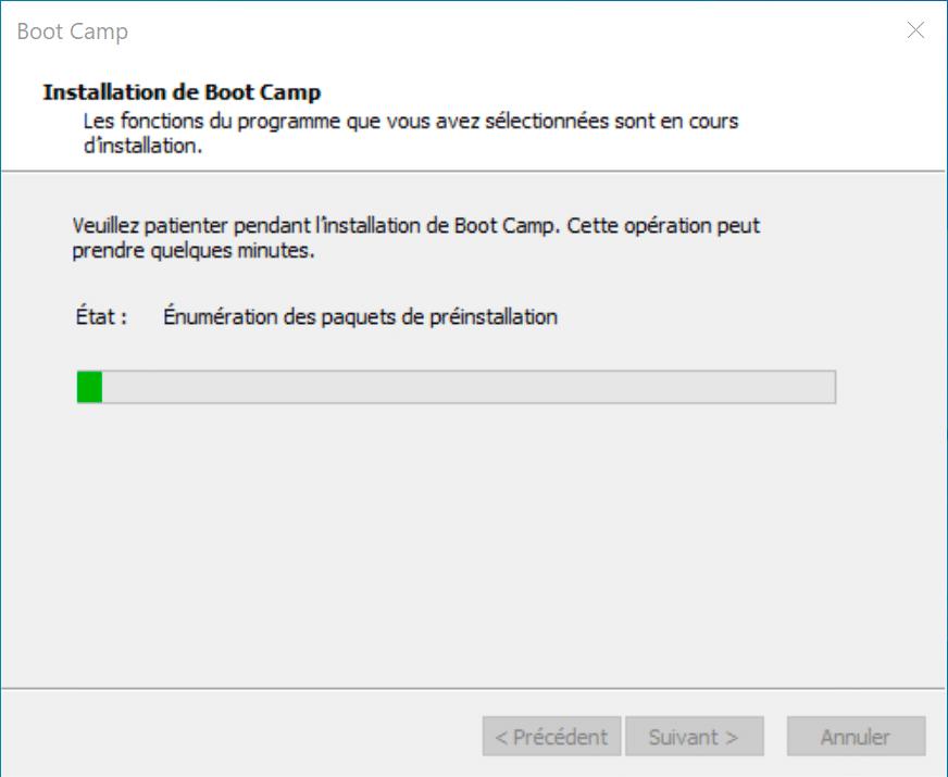 Assistant d'installation de Boot Camp sous Windows 10.